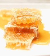 Honey on raw honeycomb